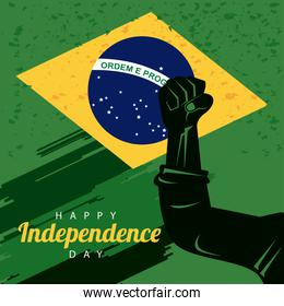 brazil happy independece day celebration with flag and hand fist