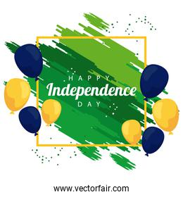 brazil happy independece day celebration with flag in balloons helium square frame
