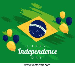 brazil happy independece day celebration with flag in balloons helium float
