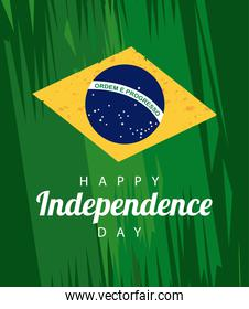 brazil happy independece day celebration with lettering and flag