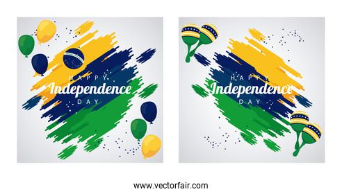 brazil happy independece day celebration with flag in balloons helium frames