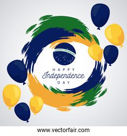 brazil happy independece day celebration with flag in balloons helium circular frame