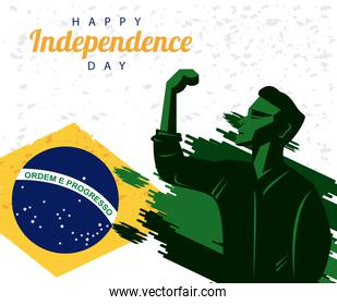 brazil happy independece day with flag and strong man celebrating