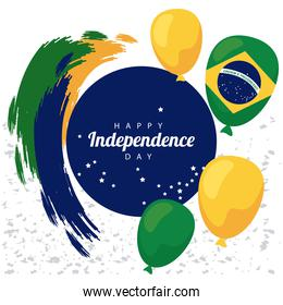 brazil happy independece day celebration with flag in balloons helium float circular frame