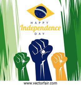brazil happy independece day celebration with flag and hands fists painted
