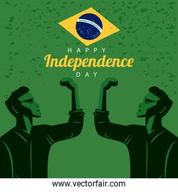 brazil happy independece day celebration with flag and strong men celebrating
