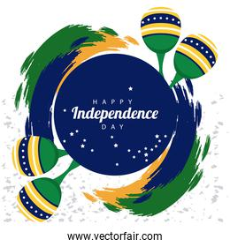 brazil happy independece day celebration with flag and maracas circular frame