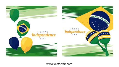 brazil happy independece day celebration with balloons helium and maracas in flag
