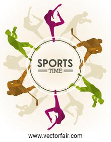 sports time poster with athletes figures silhouettes circular frame