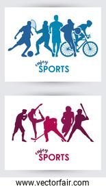 sports time poster with athletes silhouettes frames