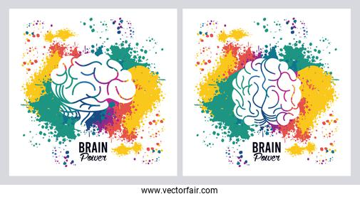 brains power posters with colors splash