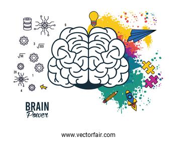 brain power poster with colors splash and set supplies