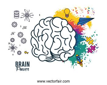 brain power poster with colors and set items