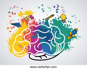 brain power poster with colors and set supplies
