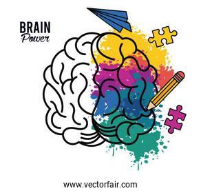 brain power poster with colors and set icons