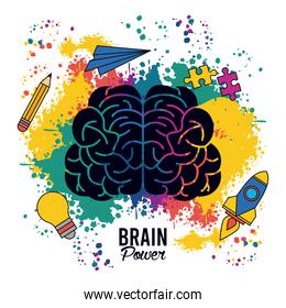 brain power poster with colors splash and set creative icons