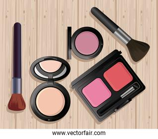 make up cosmetics in wooden background