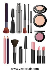 make up cosmetics in white background