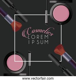 lettering and makeup cosmetics square frame in black background