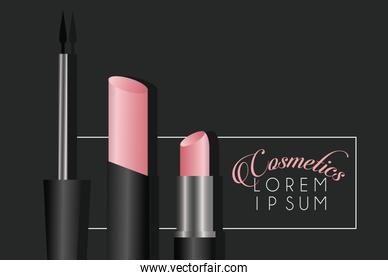 lettering and make-up cosmetics in black background