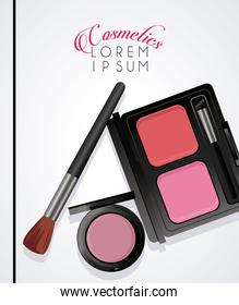 lettering and make up cosmetics in white color background
