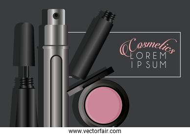 lettering and make up cosmetics in black background