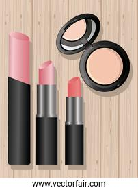make-up cosmetics in wooden background