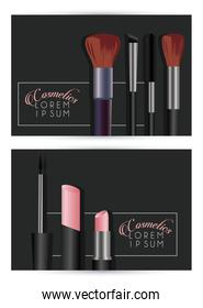 letterings and make up cosmetics in black backgrounds
