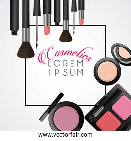 lettering and make up cosmetics square frame in white background