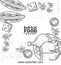 fresh local food drawing in color white background