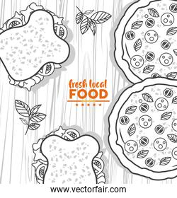 fresh local food lettering drawing in wooden background