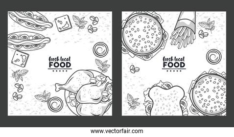 fresh local food letterings drawing in white colors backgrounds