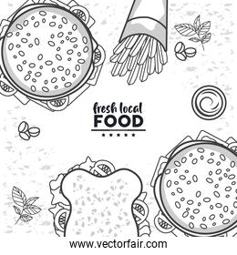 fresh local food drawing in white color background