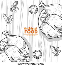 fresh local food lettering drawing in table wooden background