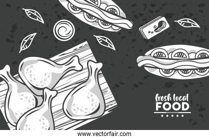 fresh local food lettering drawing in black color background