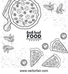 food local fresh drawing in white background