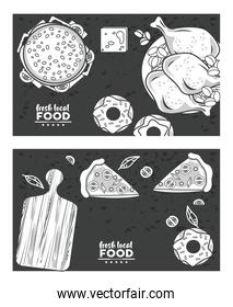 fresh local food letterings drawing in black backgrounds