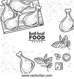 fresh local food lettering drawing in white background