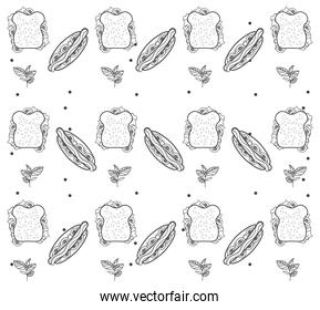 fresh local food drawing pattern in color white background
