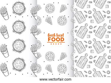 fresh local food patterns with lettering in white backgrounds