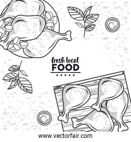 fresh local food lettering drawing in white color background