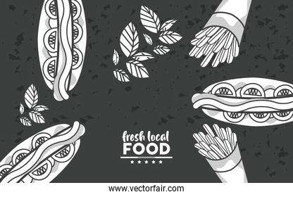 fresh local food lettering drawing in background black