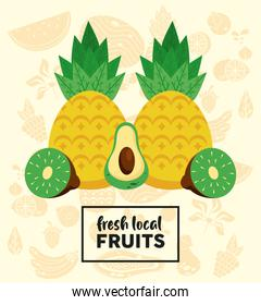 fresh local fruits lettering and pineapple with fruits