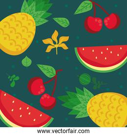 fresh local fruits with pineapples and watermelons in green background
