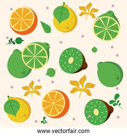 fresh local fruits with oranges and kiwis pattern