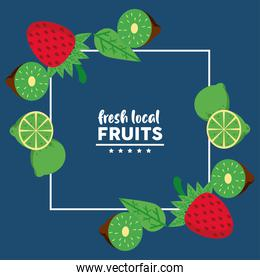 fresh local fruits with lemons and strawberries in blue background