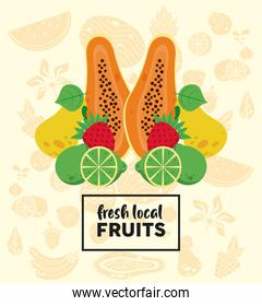 fresh local fruits lettering with papaya and fruits