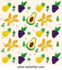 fresh local fruits with avocados and grapes pattern