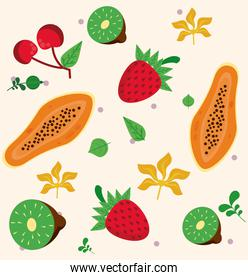 fresh local fruits with strawberries and fruits pattern