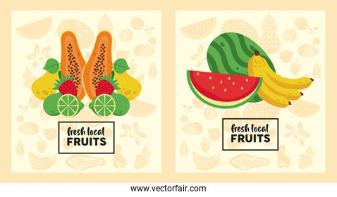 fresh local fruits set of patterns in yellow color background